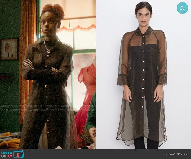 Zara Longline Organza Shirt worn by Josie McCoy (Ashleigh Murray) on Katy Keene