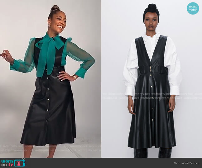 Midi Pinafore Dress with Buttons by Zara worn by Amanda Seales  on The Real