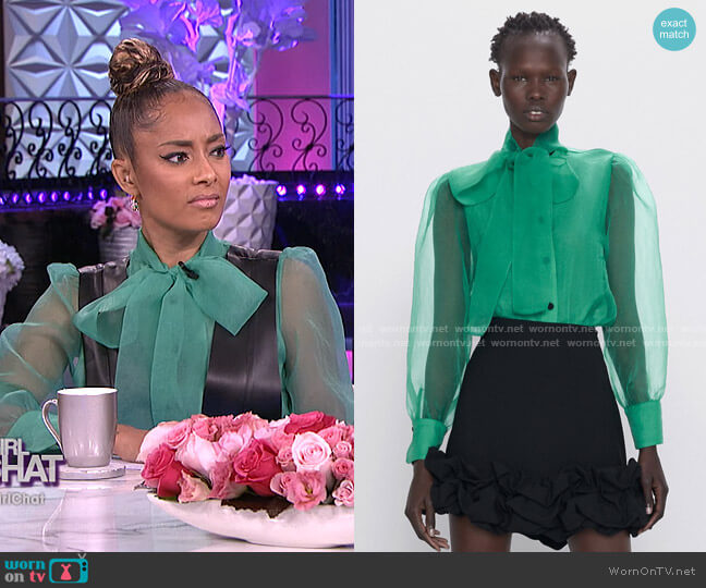 Organza Blouse with Tie by Zara worn by Amanda Seales  on The Real