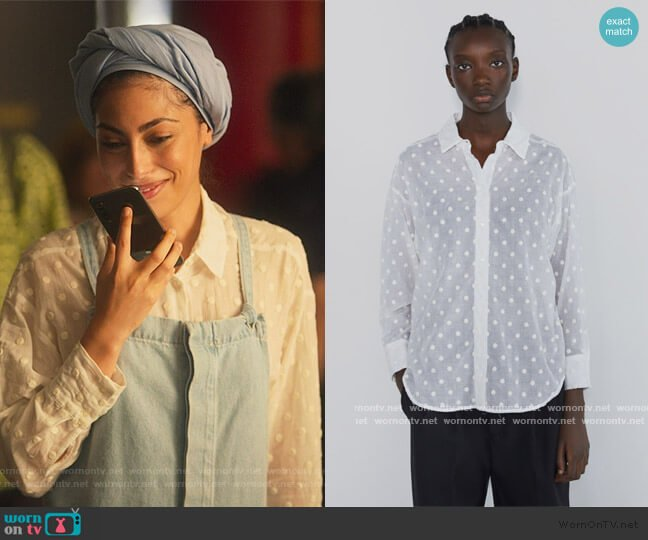 Oversided Blouse with Embroidered Dots by Zara worn by Nadia Shanaa (Mina El Hammani) on Elite