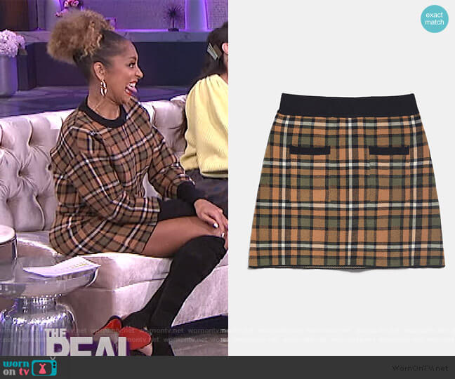 Plaid Knit Skirt by Zara worn by Amanda Seales  on The Real