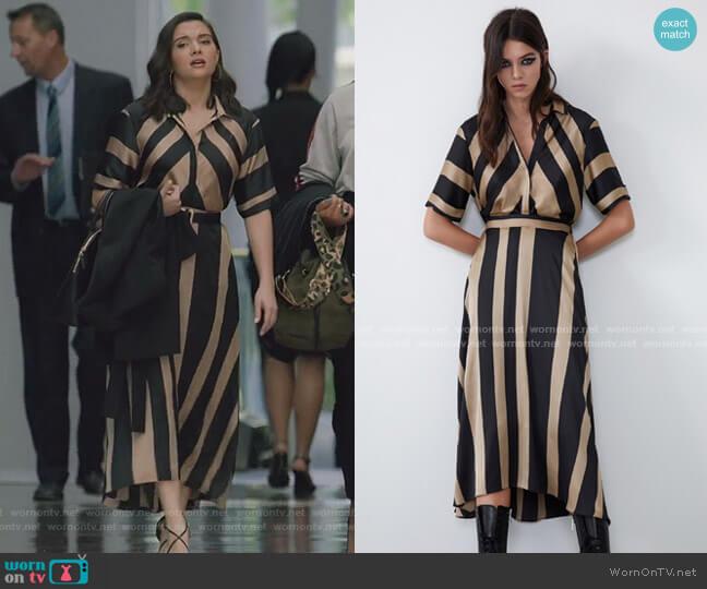 Satin Effetct Striped Dress by Zara worn by Jane Sloan (Katie Stevens) on The Bold Type