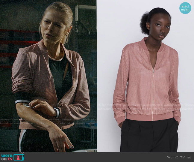 Zara Textured Weave Bomber Jacket  worn by Isobel Evans-Bracken (Lily Cowles) on Roswell New Mexico