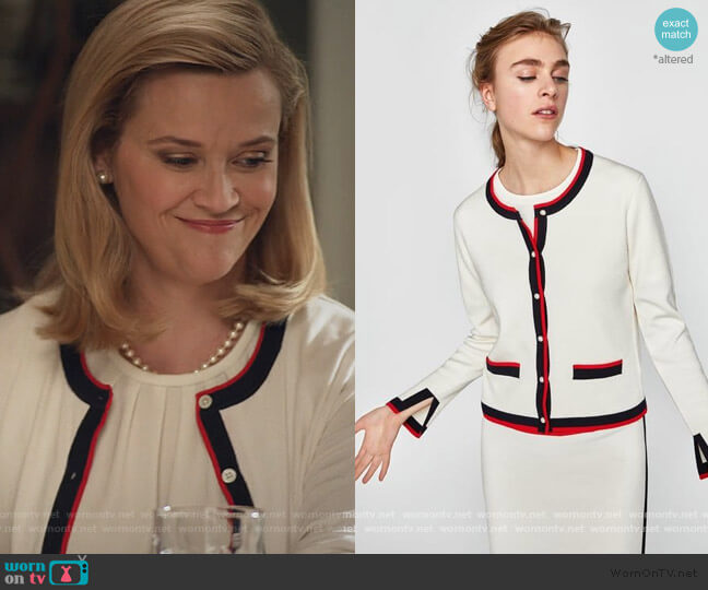 Contrast Trim Cardigan by Zara worn by Elena Richardson (Reese Witherspoon) on Little Fires Everywhere
