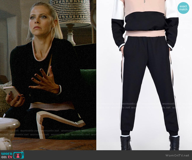 Zara Jogging Pants with Side Stripe worn by Isobel Evans-Bracken (Lily Cowles) on Roswell New Mexico