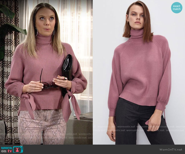 Zara Knit Sweater with Tied Cuffs worn by Abby Newman (Melissa Ordway) on The Young & the Restless