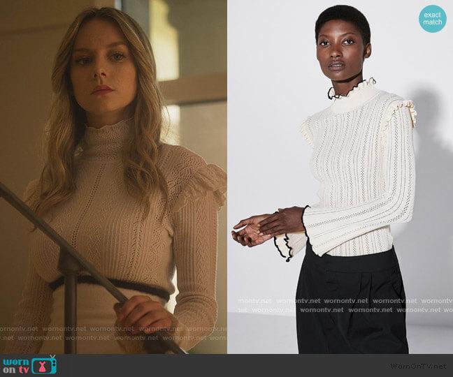 Pointelle Sweater by Zara worn by Carla Roson Caleruega (Ester Exposito) on Elite