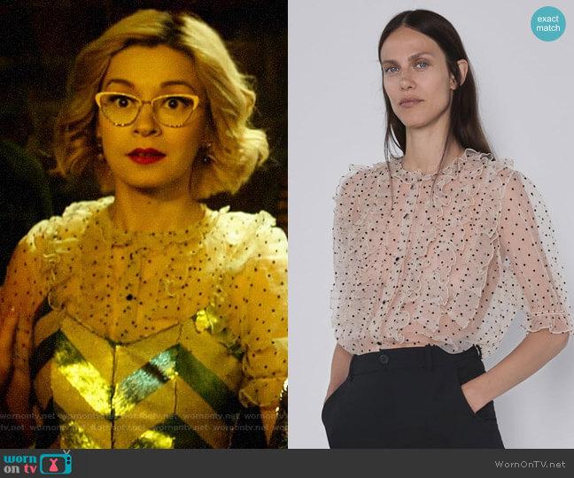 Zara Polka Dot Organza Blouse worn by Pepper Smith (Julia Chan) on Katy Keene