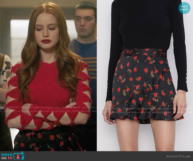 Zara Ruffled Printed Shorts worn by Cheryl Blossom (Madelaine Petsch) on Riverdale