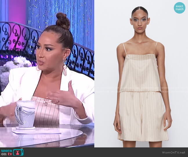 Satin Effect Stripe Top and shorts by Zara worn by Adrienne Houghton  on The Real