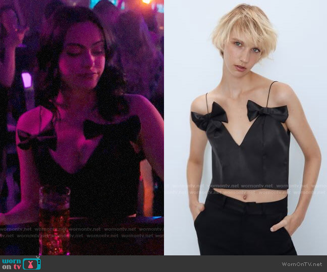 Zara Satin Effect Top with Bows worn by Veronica Lodge (Camila Mendes) on Riverdale