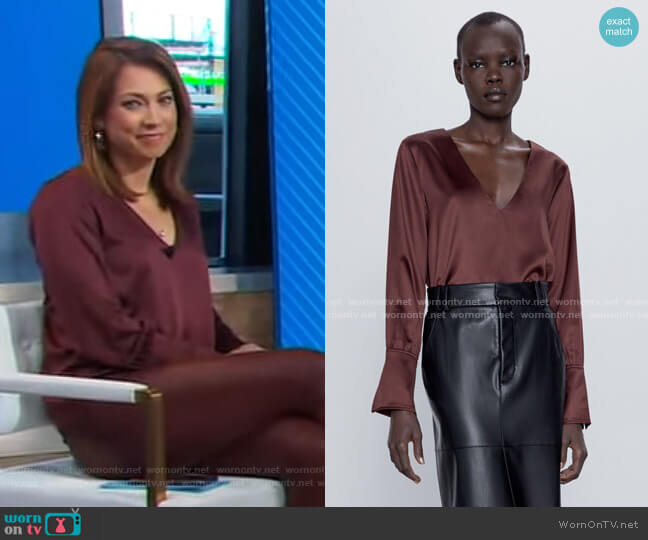 Satin Top by Zara worn by Ginger Zee  on Good Morning America