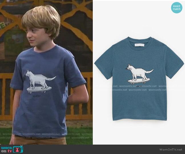 Skater CatT-Shirt by Zara worn by Finn Sawyer (Will Buie Jr) on Bunkd