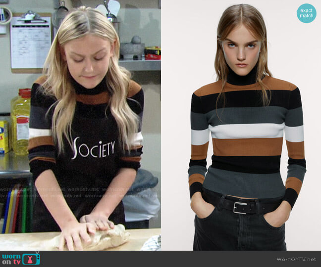 Zara Striped Turtleneck Sweater worn by Faith Newman (Alyvia Alyn Lind) on The Young & the Restless