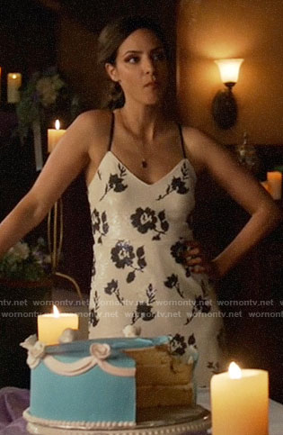 Zari's white floral sequin dress on Legends of Tomorrow