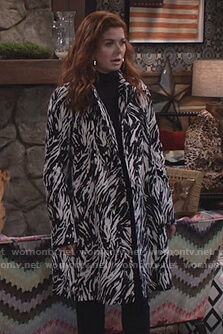 Grace's zebra stripe coat on Will and Grace