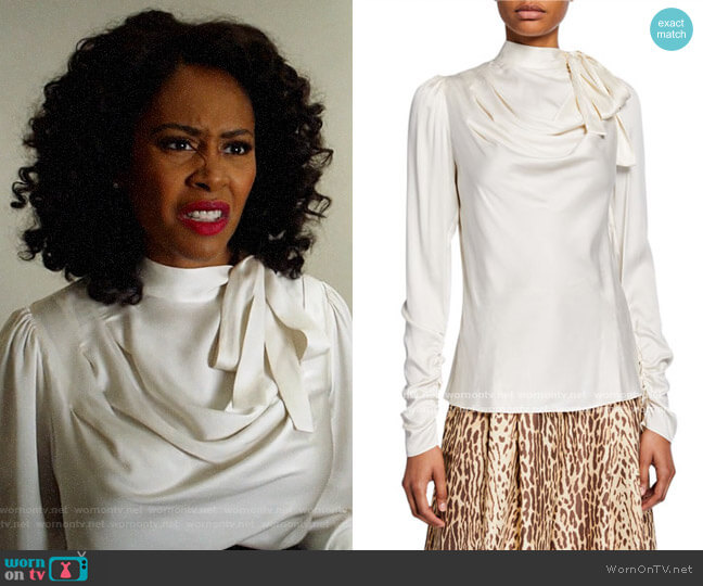Zimmermann Espionage Silk Cowl Blouse worn by Lola Carmichael (Simone Missick) on All Rise