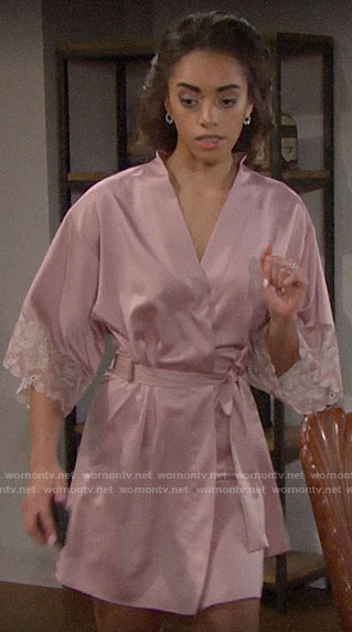 Zoe's pink lace trim robe on The Bold and the Beautiful
