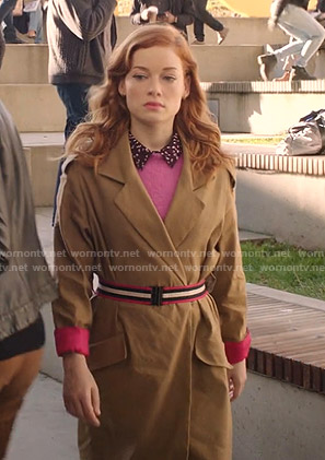 Zoey's brown trench coat with striped belt on Zoeys Extraordinary Playlist