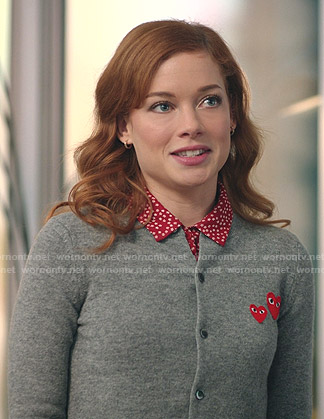 Zoey's grey cardigan with heart patches on Zoeys Extraordinary Playlist