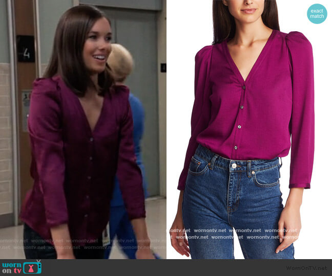 3/4-Sleeve Puffed-Shoulder Top by 1. State worn by Willow Tait (Katelyn MacMullen) on General Hospital