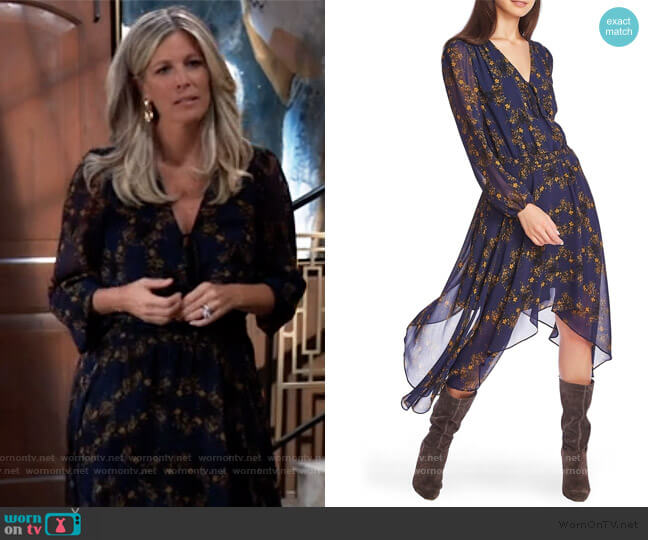 Long Sleeve Floral Handkerchief Hem Dress by 1.State worn by Carly Corinthos (Laura Wright) on General Hospital