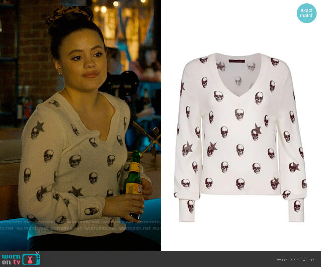 360 Cashmere Jamie Skull Cashmere Sweater worn by Maggie Vera (Sarah Jeffery) on Charmed