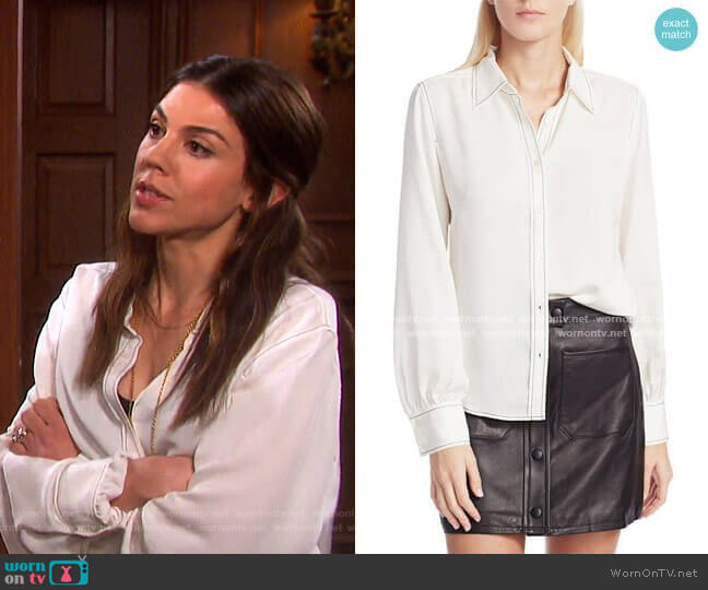 70s Contrast Stitch Puff-Sleeve Silk Shirt by Frame worn by Abigail Deveraux (Kate Mansi) on Days of our Lives