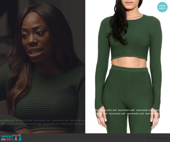 Rib Crop Long Sleeve Top and Leggings by Adam Selman worn by Molly Carter (Yvonne Orji) on Insecure