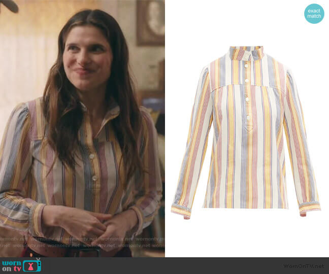 Loula striped cotton-crepe blouse by A.P.C. worn by Rio (Lake Bell) on Bless This Mess