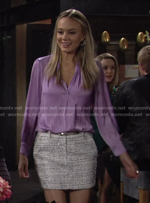 Abby's lilac v-neck blouse and tweed mini skirt on The Young and the Restless