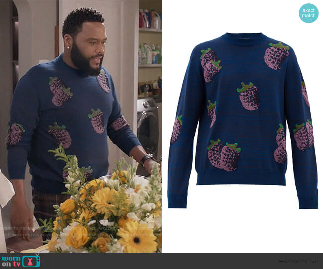 Koray fruit-jacquard sweater by Acne Studios worn by Andre Johnson (Anthony Anderson) on Blackish