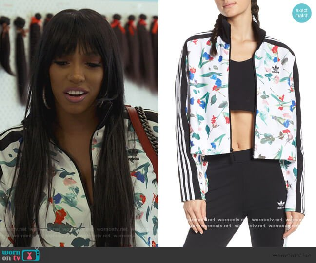 Floral Print Crop Track Jacket by Adidas worn by Porsha Williams  on The Real Housewives of Atlanta