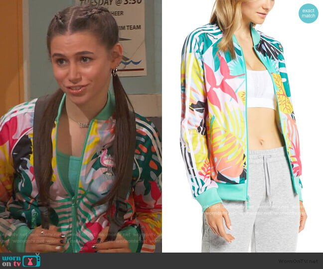 Tropicalage Graphic Track Jacket by Adidas worn by Tess O'Malley (Sky Katz) on Ravens Home