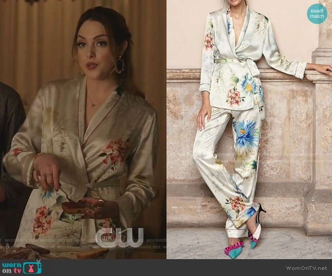 Waldorf Floral Silk Satin Pajama Top and Alessia Pants by Adriana Iglesias worn by Fallon Carrington (Elizabeth Gillies) on Dynasty