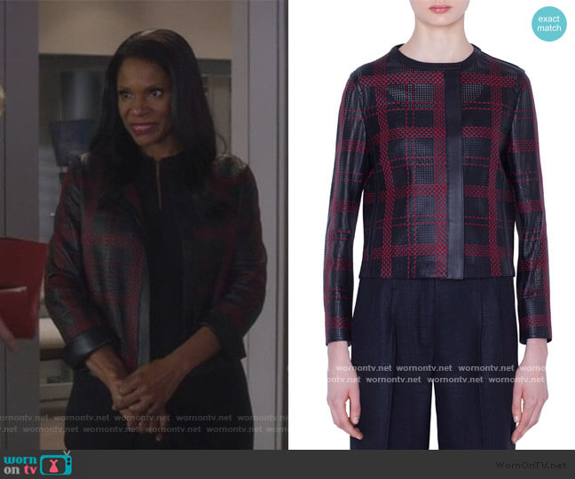 Caleesi Leather Grid Jacket by Akris worn by Liz Reddick-Lawrence (Audra McDonald) on The Good Fight