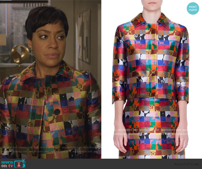 Cropped Floral-Jacquard Jacket by Akris Punto worn by Lucca Quinn (Cush Jumbo) on The Good Fight