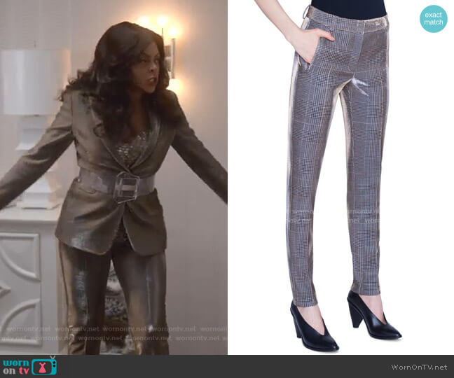 Fabia Metallic Glen Checked Jersey Pants by Akris punto worn by Cookie Lyon (Taraji P. Henson) on Empire
