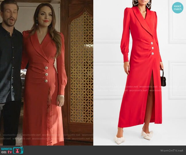 Hollywood Crystal-Embellished Stretch-Crepe Maxi Dress by Alessandra Rich worn by Fallon Carrington (Elizabeth Gillies) on Dynasty