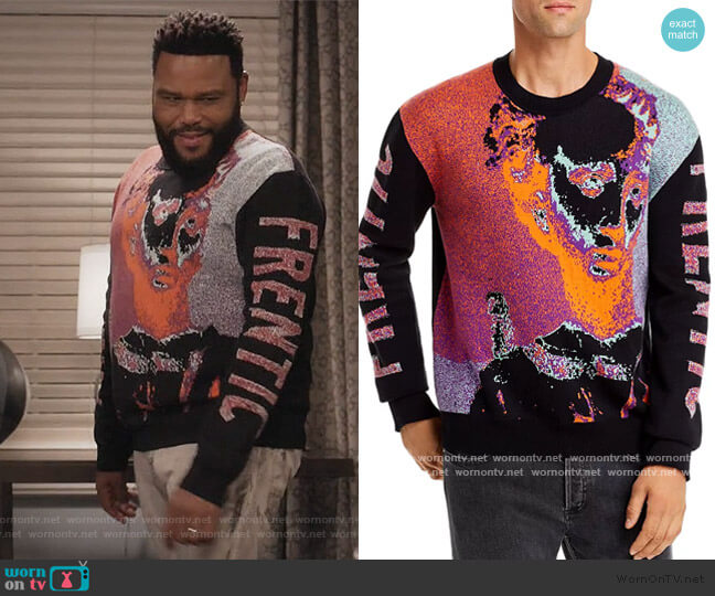 Multicolor Frentic Sweater by Alexander McQueen worn by Andre Johnson (Anthony Anderson) on Blackish