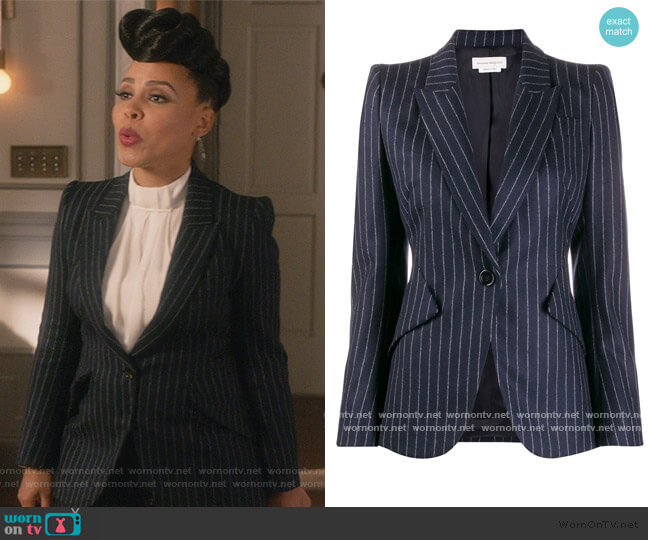 Fitted Pinstripe Blazer by Alexander McQueen worn by Tegan Price (Amirah Vann) on HTGAWM