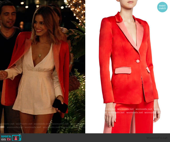 Nevra Satin Single-Button Blazer by Alexis worn by Noa Hamilton (Nathalie Kelley) on The Baker & the Beauty