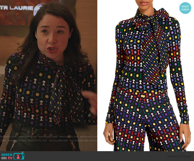 Delaina Tie-Neck Cropped Top by Alice + Olivia worn by Marissa Gold (Sarah Steele) on The Good Fight