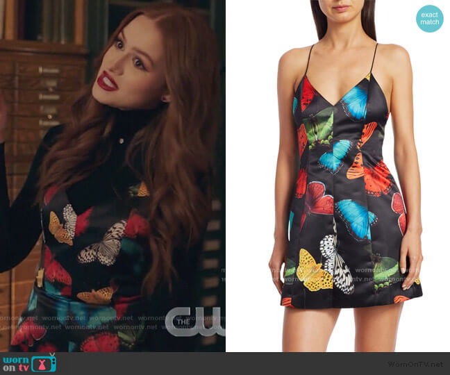 Tayla Butterfly Paneled Mini Dress by Alice + Olivia worn by Cheryl Blossom (Madelaine Petsch) on Riverdale