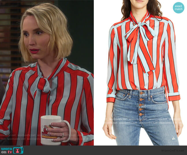 Berta Tie Neck Silk Blouse by Alice + Olivia worn by Mandy Baxter (Molly McCook) on Last Man Standing