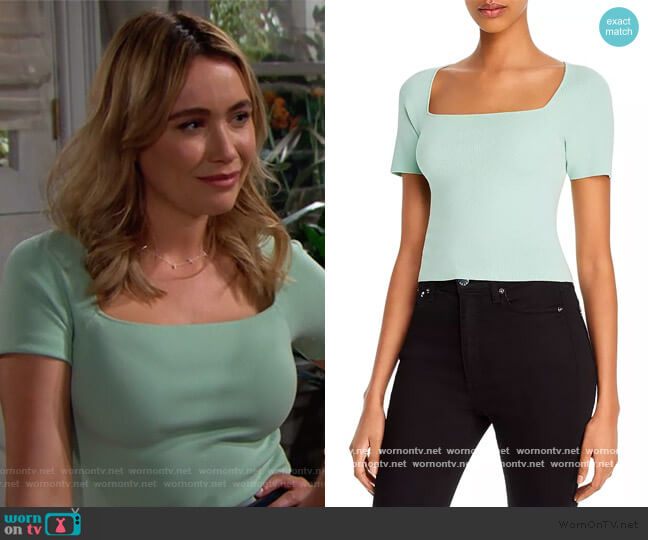 Brynn Square-Neck Top by Alice + Olivia worn by Florence (Katrina Bowden) on The Bold & the Beautiful