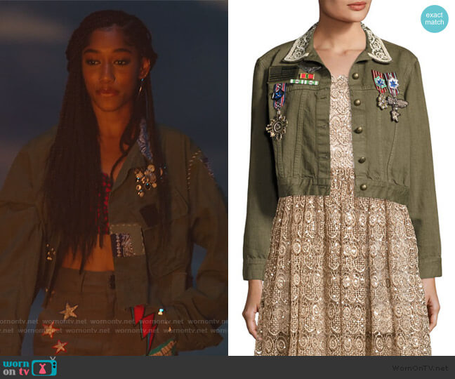 Chloe Embroidered Cropped Army Jacket by Alice + Olivia worn by Drea Barris (Iman Benson) on BlackAF