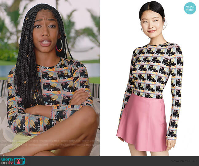 Delaina Long Sleeve Crew Neck Top by Alice + Olivia worn by Drea Barris (Iman Benson) on BlackAF