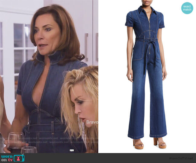Gorgeous Zip-Front Denim Jumpsuit by Alice + Olivia worn by Luann de Lesseps  on The Real Housewives of New York City