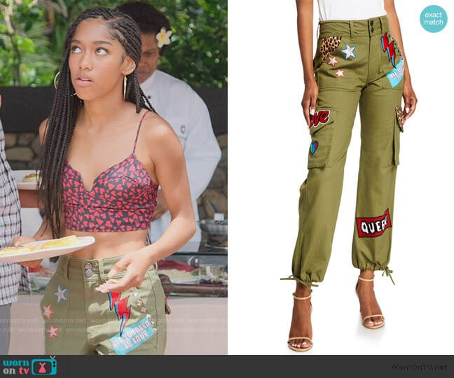 High-Waisted Cargo Pants w/ Patches by Alice + Olivia worn by Drea Barris (Iman Benson) on BlackAF